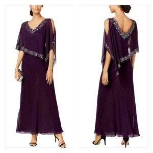 J Kara Bead-Embellished Cold Shoulder Cape Gown